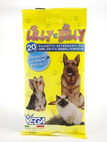 Lilly e Billy - Salviette Detergenti per Cani, Gatti ed Animali Domestici - Conf. da 20 pz.