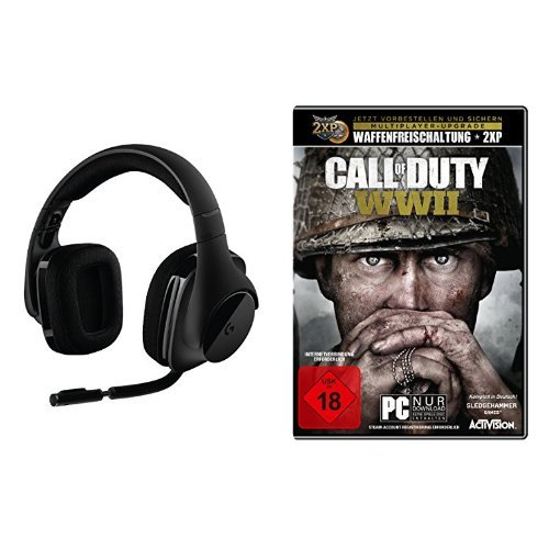 Logitech G533 Gaming-Headset (kabelloser DTS 7.1 Surround-Sound) schwarz + Call of Duty: WWII - Standard Edition - [PC]