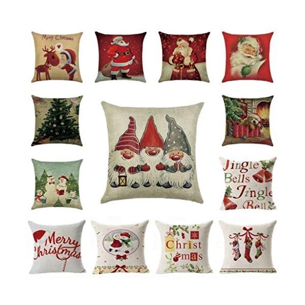 IJKLMNOP Christmas Pillow 45x45cm Funda de Almohada de Lino Cojín Cuadrado Adecuado para oficinas, familias, automóviles… 2