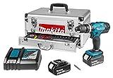 Makita DHP453RFEX Trapano con impugnatura a pistola Ioni di Litio 3Ah 1700g Nero, Blu trapano senza fili