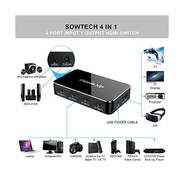 SOWTECH-4-x-1-HDMI-Switch-4K-avec-Audio-Optical-TOSLINK-Out-4-Ports-Ultra-HD-4K-x-2K-HDMI-Commutateur-Audio-Extractor-avec-Tlcommande-IR-Supporte-ARC-3D-1080p-pour-MacbookHDTVLaptop