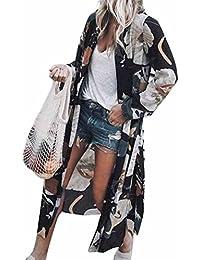 31744181389 ESAILQ Smock Women Chiffon Lotus Print Long Coat Tops Suit Kimono Cover  Beach