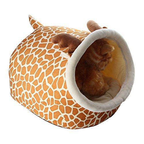 Cartoon pets house, ifoyo portable morbido peluche warm pets cave con rimovibile e lavabile letto cuscino per cani, gatti e piccoli animali