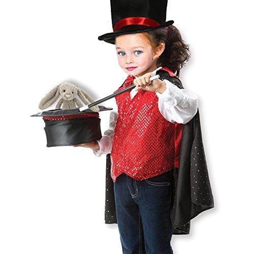 Cosplay Kostüm Jungen, Kinder Zauberer Kostüm Rolle spielen Set inkl. Hut Umhang Zauberstab, Magic Tricks für Halloween, Ostern, Cosplay, Partys (Alter 3–6)