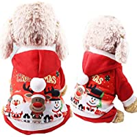CHENPU Christmas Pet Dog Costume Santa Deer Snowman Pattern Dog Clothes for Holiday Festival Party (L)