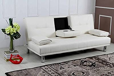 New 'Sleep Design' Manhattan Modern Faux Leather Fold Down 3 Seater Sofa Bed With Drinks Table & Cushions- Available In Black, Red, White, Green, Blue, Orange, Purple & Brown - inexpensive UK sofabed shop.