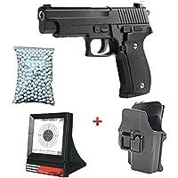 Galaxy Pack Cadeau Airsoft Pistolet Sig Sauer P226 Métal Noir 0.5 Joule avec Holster 6mm à Ressort 600 Billes Offert Et Une Cible Filet - G26