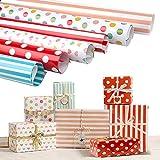 Joeyer 6 Fogli Carta da Regalo, Pois Stripe Carta Da Regalo Colorata (Piegati) per Bambino Uomini Femminili Regali Anniversari Capodanno Matrimoni Natale