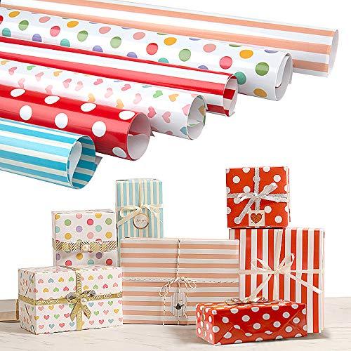 Joeyer 6 Bögen Geschenkpapier, Buntes Geschenkpapier (Gefaltet) für Geburtstag, Urlaub, Babyparty, Ostern, Weihnachten GeschenkpapierWeihnachten Geschenkpapier