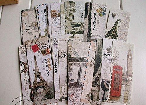 Happy star®, segnalibri stile cartoline vintage con immagini di attrazioni turistiche di londra o parigi, idea regalo per amanti della lettura, confezione da 30 pezzi