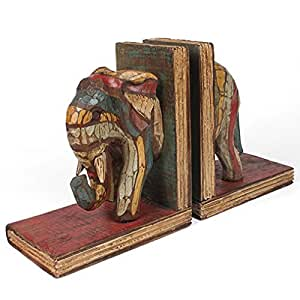 Fair Trade Handcrafted Rustic Elephant Wooden Bookends by Siesta