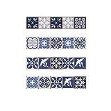 Decorativos Adhesivos para Azulejos Pegatina de Pared - Flor de estilo mediterráneo de vid vintage Cenefa Autoadhesivo- para Baño y Cocina - 20cmx20cmx20 pcs
