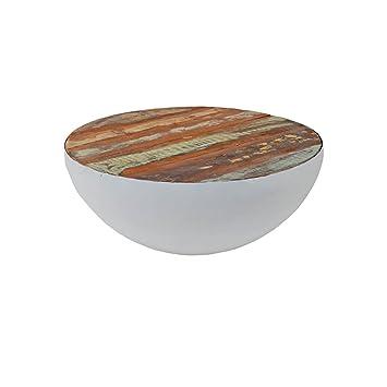 Wohnzimmertisch Rund Halbkugel Beistelltisch Bowl Brix Mangoholz Metall Stahl 70cm Weiss