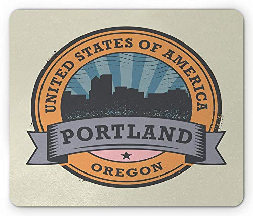 Oregon Mouse Pad, West Coast State Silhouette Rubber Stamp Design with Grunge Effect Worn Out Look Gaming Mousepad Office Mouse Mat Multicolor - Oregon Lager