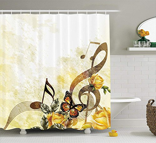 JIEKEIO Music Shower Curtain, Music Roses Romantic Antiquity Victorian Classic Bridal Floral Illustration, Fabric Bathroom Decor Set with Hooks, 60 * 72inch Extra Long, Sepia and Yellow - Victorian Rose Bath