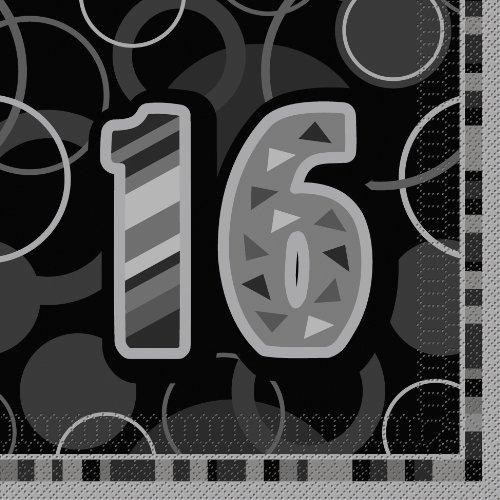 Unique Party Supplies Glitz Geburtstag Papier Servietten, 16Stück (Supplies 16th Birthday Party)
