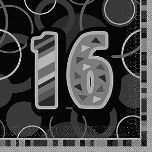 Unique Party- Paquete servilletas de Papel cumpleaños, Color negro, edad 16 (28477)