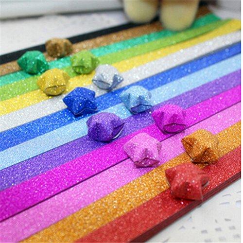 KAIMENG 720pcs 18 Farbe Origami Sterne Papiere Glitzer Regenbogen Falten Papier -