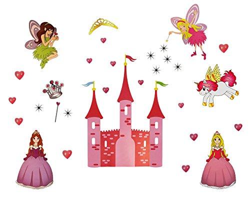 WandSticker4U - Vinilos decorativos - Princesa y el castillo de cuento| Efecto de : 130 x 90 cm | corazón de la estrella de hadas Fairy Elf unicornio caballo corona tiara varita | Extraíble pegatinas de pared Tatuajes de pared para bebé Niñas XL