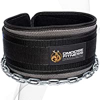 "DMoose Fitness Premium Dip Belt with Chain - 36"" Heavy Duty Steel Chain, Comfort Fit Neoprene, Double Stitching - Maximize Your Weightlifting & Bodybuilding Workouts Universal gray"