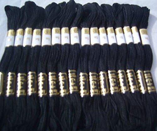 24 Noir Ancre à broder au point de croix fils Floss/écheveaux Strandard de qualité