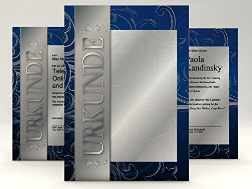 Urkundenpapier Silber, 10 Blatt für Zertifikate DIN A4, 190g/qm