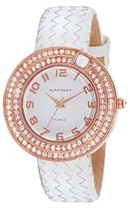 Naf Naf - N10072-801 - Anastasie - Montre Femme - Quartz Analogique - Cadran Blanc - Bracelet Cuir Blanc