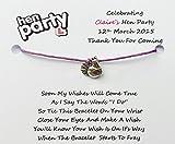 10 x Personalised Hen Night Wish Bracelets Hen Party Wish Bracelets Favours/Gifts (purple)