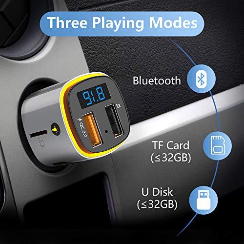 Transmetteur FM Bluetooth, SONRU QC3.0 FM Émetteur Main Libre Kit Bluetooth Adaptateur Radio Chargeur de Voiture, Lumière colorée, Affichage à LED, Support U Disk TF Card