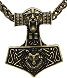 Bronce antiguo cadena de metal escandinavo Odin Wolf Thor martillo nudo collar Raven MJOLNIR colgante collar damas mens nórdico Celtic runas nórdicas talismán sajón nudo