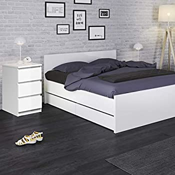 Furniture To Go | Naia Bedside - 3 Drawers in White High Gloss