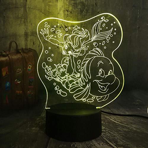 3D Lampe Leuchte LED Stimmungslicht Meerjungfrau Prinzessin und ihre Freunde 7 Farben Touch-Schalter Ändern Nachtlicht Für Schlafzimmer Hochzeit Weihnachten Valentine Geburtstag Geschenk