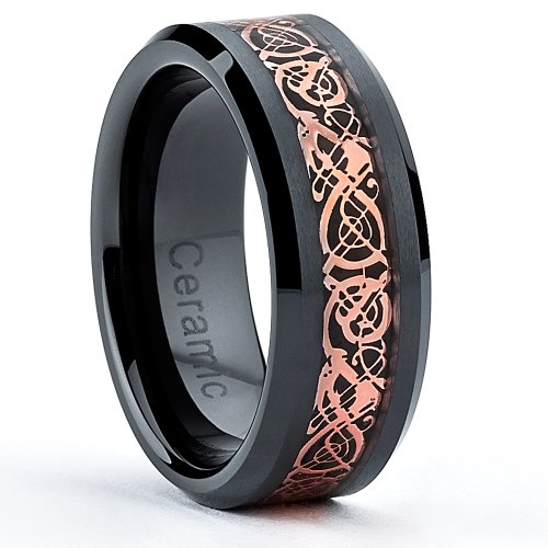 Ultimate Metals Co. 8MM Bague en Céramique Noir Avec Incruste de Dragon Celtique Taille 56