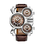 3 Dial Watch, Men ' S Casual 3 Time Large Face Military Steampunk Sports Watch,Brown