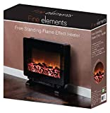Fine Elements Portable Free Standing Heater with Log Fuel Flame Effect with Adjustable Brightness