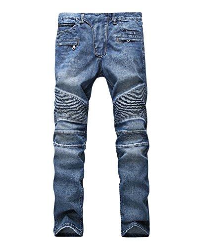 Vaqueros Para Hombre Slim Fit Moto Pantalones Ver Destruido Desgarrar Agujeros Azul...