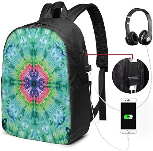 Schulrucksack-Taschen mit USB-Ladeanschluss und Kopfhöreranschluss, verzerrter Hintergrund mit plissiertem Verlaufsbett-Marmor-Effektbild, 17 Zoll -