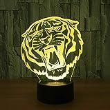 Wohnräume 3D Visuelle Illusionslampe Tiger Transparent Acryl NachtlichtFarbwechsel Touch TableProjetor