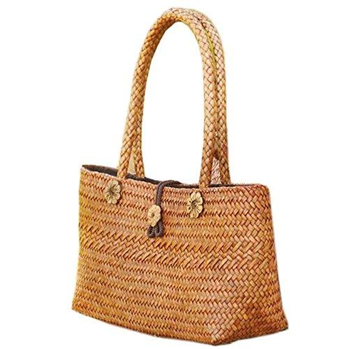 handgemachter stickerei stricken / weben bambus rattan stroh handtasche / umhängetasche (Tote Natürlichen Stroh)