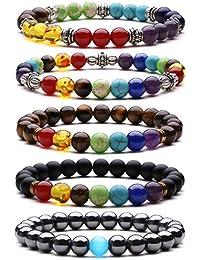 J.Fée 7 Chakras Bracelet Extensible de Pierre Gemme 5 Pack Bijoux Set Huile Diffuseur Cristal Bracelet Yoga Mala Bracelet Cadeau de Saint Valentin