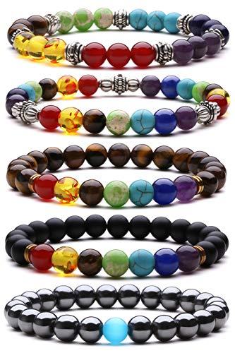 J.Fée Perlenarmband Chakra Hämatit Achat Armbänder 8mm Perlen Armband für Männer perlenarmbänder Set Armband aus Naturstein Edelstein Perlen Armband Armband Geschenk für Frauen Männer