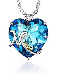 3c96b3b24c3a Kette Damen, Herz Mum Halskette mit Blau Anhänger Kristallen von Swarovski,  Schmuck Damen,