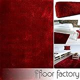 floor factory Moderner Teppich Seasons rot 120x170 cm - flauschig weicher Hochflor Teppich in aktuellen Trendfarben