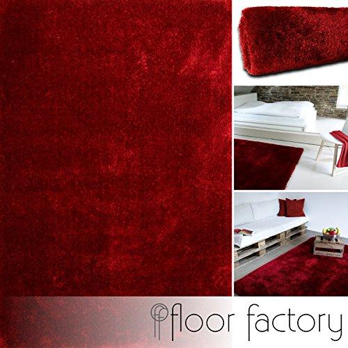 Moderner Teppich Seasons rot 80x150 cm - flauschig weicher Hochflor Teppich in aktuellen Trendfarben