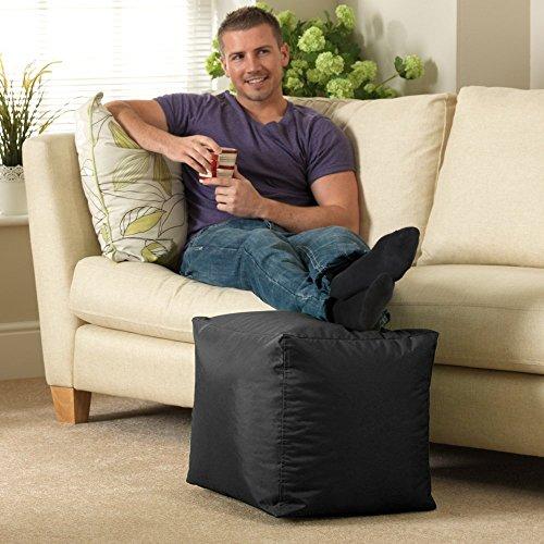 Sitzsack-Hocker Bar B Cube, schwarz, für Innen- und Außenbereich, wasserdicht