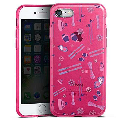 Apple iPhone 8 Silikon Hülle Case Schutzhülle Wintersport Ski ohne Hintergrund Silikon Colour Case pink