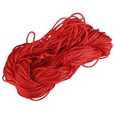 1mm Nylon Chinese Knot Cord Beading Macrame Rattail Bracelet Thread String Rope,Red