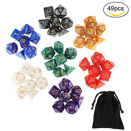 Preisvergleich Produktbild Rymall 7 x 7 (49 Pcs) Polyedrische Dice Würfel Farbige Würfeln in 7 Farben, 7 Würfel Sets mit 7 Schwarze Taschen, Für Dungeons and Dragons