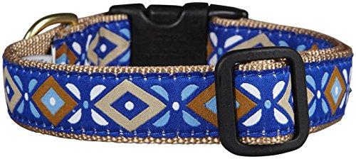 Up Country Aztec Hundehalsband Blau, (Large 15-21