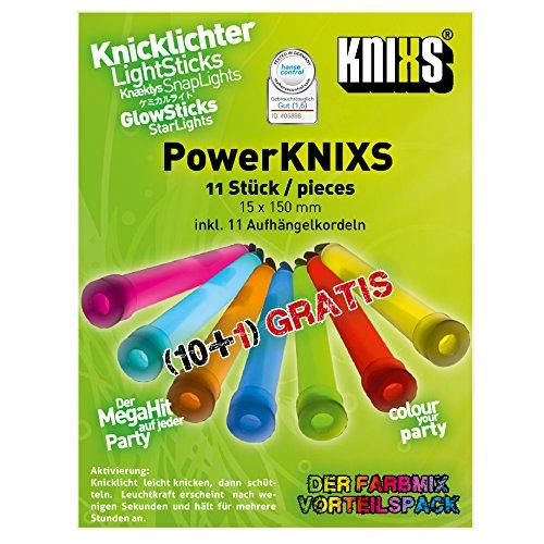 KNIXS - 10 + 1 Gartis Power Knicklichter, Super Farbmix, seit 10 Jahren in Profiqualität, deutsche Testnote: 1,6 / einzeln verpackt - 150 x 15 mm